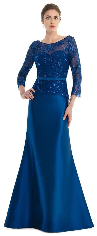 Glamorous Lace & Satin Bateau Neckline Long Sleeves Mermaid Mother Of The Bride Dresses With Hot Fix Rhinestones & Sash