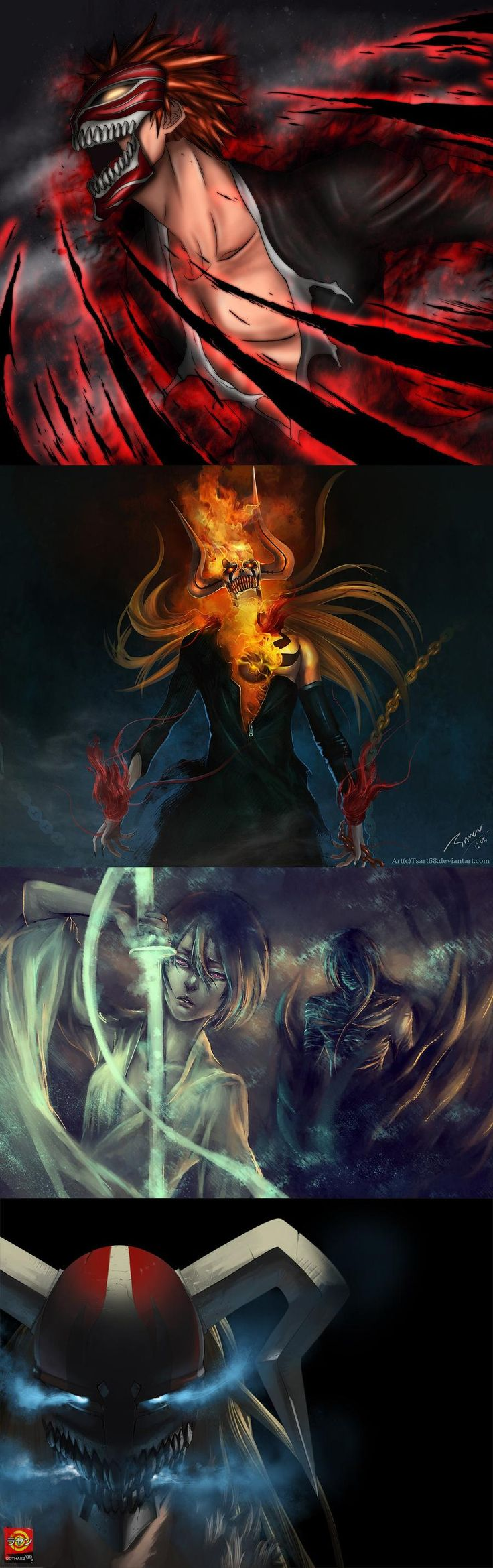 Ichigo as hollow, mugetsu, and vasto lorde and there's also rukia. This fanart is just... God bless this, whoaa!! PERFECT.