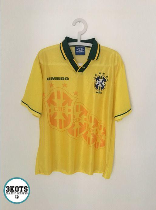 2b5e9ac6371 BRAZIL 1994/97 Home Football Shirt (L) Soccer Jersey Vintage Brasil UMBRO  Maglia #UMBRO #Jerseys