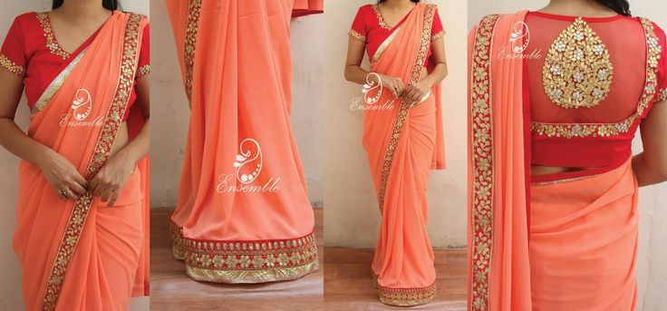 EN 381Peachish orange georgettesaree finished with gota borders.Blouse- gota work as in the picture(stitched)Price- rs 7000NOTE:Actual colors might vary from the images you see on your screen due to your screen settings  brightness levels etc. Please refer to the color description.To place order  either mail us at ask.ensemble@gmail.com or whatsapp at 9840485135*COD available all over india  19 October 2016