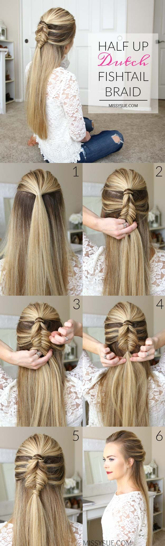Best Hair Braiding Tutorials - Half Up Dutch Fishtail Braid - Easy Step by Step Tutorials for Braids - How To Braid Fishtail, French Braids, Flower Crown, Side Braids, Cornrows, Updos - Cool Braided Hairstyles for Girls, Teens and Women - School, Day and