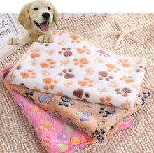 2016 nuovo 40x60 cm cute floral animale domestico caldo paw print dog cucciolo morbido pile coperta letti mat(China (Mainland))