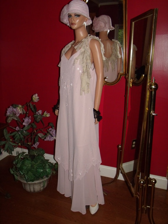 Vintage dress flapper pale pink rose t ford does 20 30 style size plus