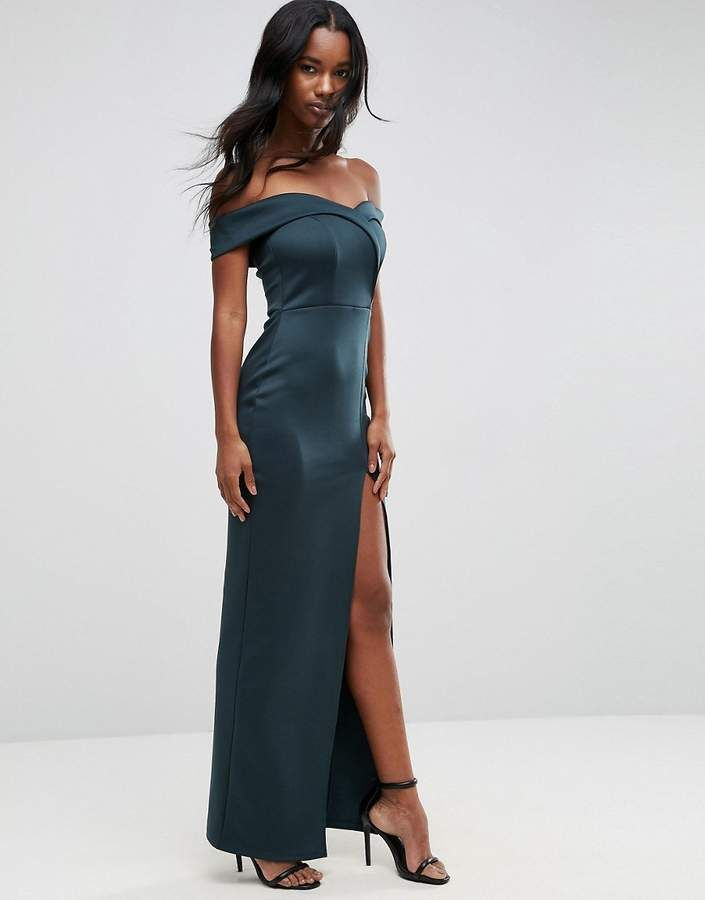 23857d66d ASOS Scuba Bardot Wrap Maxi Dress | trend 2019 in 2019 | Maxi wrap ...