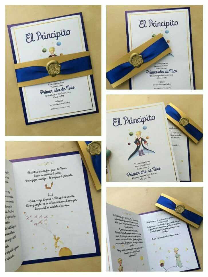 The little prince invitation. This is how Nico's invitation turned out, It's basically a summary of the book. An excuse to read the book all over again :)