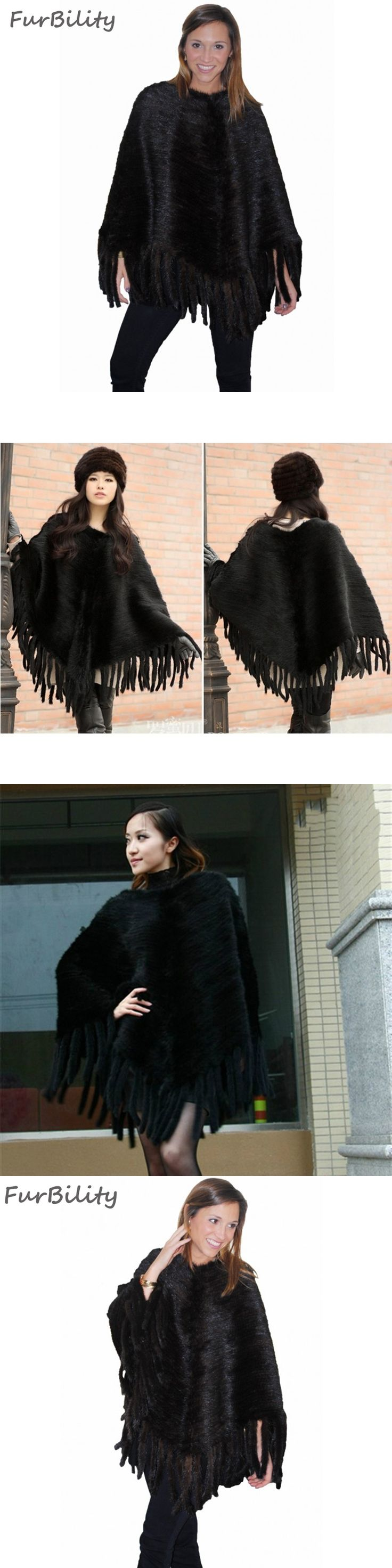 2017 New Arrival Female Knitted Mink Fur Cape Autumn Winter Pashmina With Tassel Women Fashion Luxury Poncho