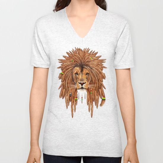 Rasta Lion Dreadlock UNISEX V-NECK T-SHIRT @pointsalestore #society6 #vneck #tee #tshirts #clothing #painting #digital #oil #popart #streetart #rasta #dreadlock #marley  #bob #lion #lionking #simba #kingofthejungle #tarzan #music #raggae #africa #junglebook #beast #animal #cat #bigcat