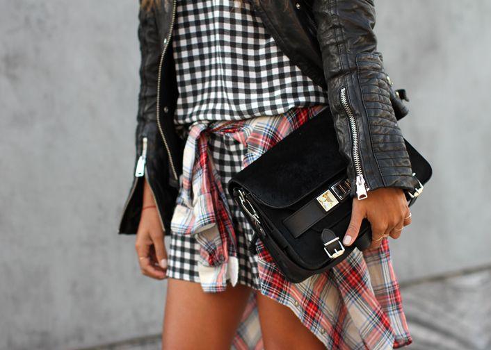 mixing prints, leather jacket