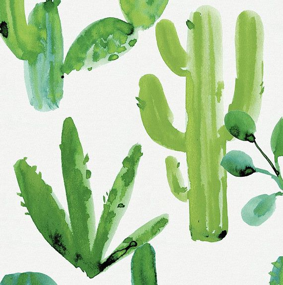 Green Painted Cactus Organic Fabric By The Yard Boy Girl