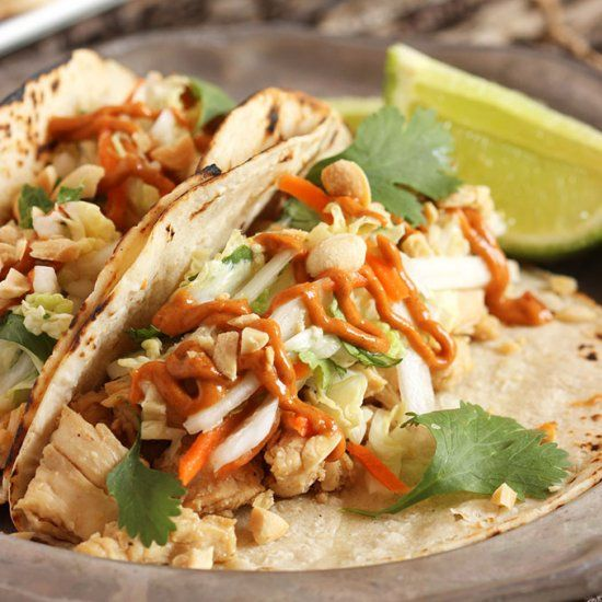 These Thai Chicken Tacos with Spicy Peanut Sauce can easily be made ...