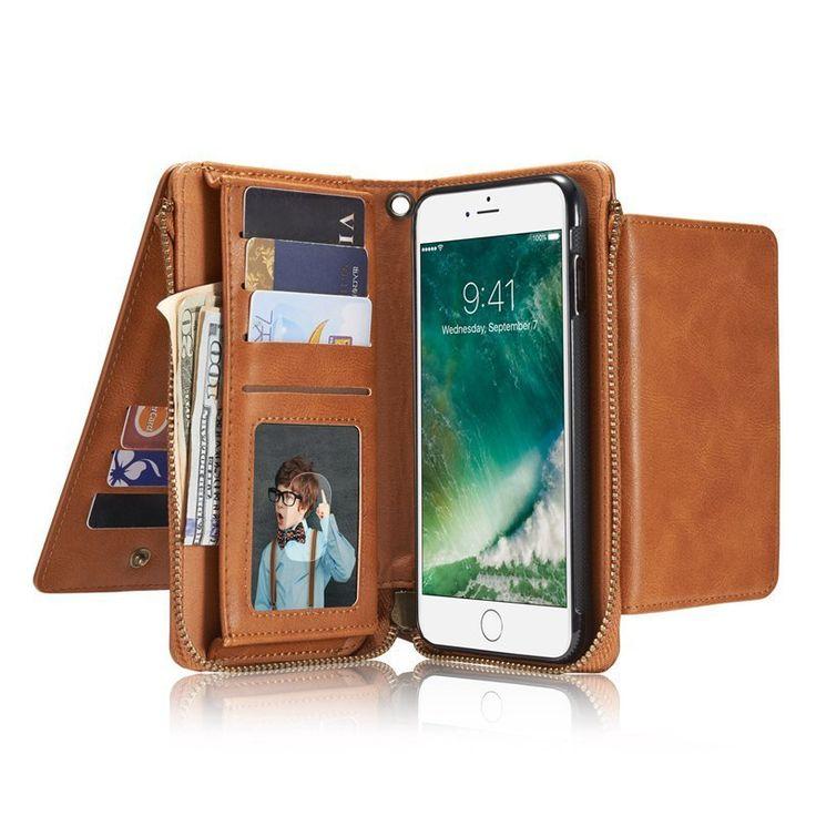 Bakeey Bracket Zipper Wallet Detachable Case For iPhone 7 Plus…