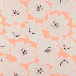 Woven viscose coral with flowers