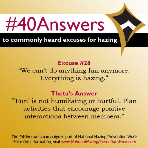 #40Answers Campaign, Day 28: 'Fun' is not humiliating or hurtful. Plan activities that encourage positive interactions between members. #NHPW