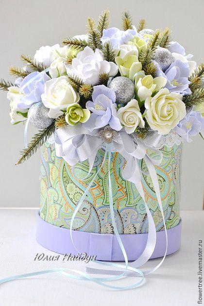 Интерьерные композиции ручной работы. Цветы в большой  шляпной коробке 30 см (полимерная глина). Юлия Найдун ~ FlowerTree. Интернет-магазин Ярмарка Мастеров.