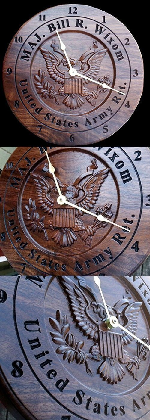 Personalized Army veteran gift clock Engraved retirement gift carved wooden Wall clock military service award plaque 5th anniversary gift.