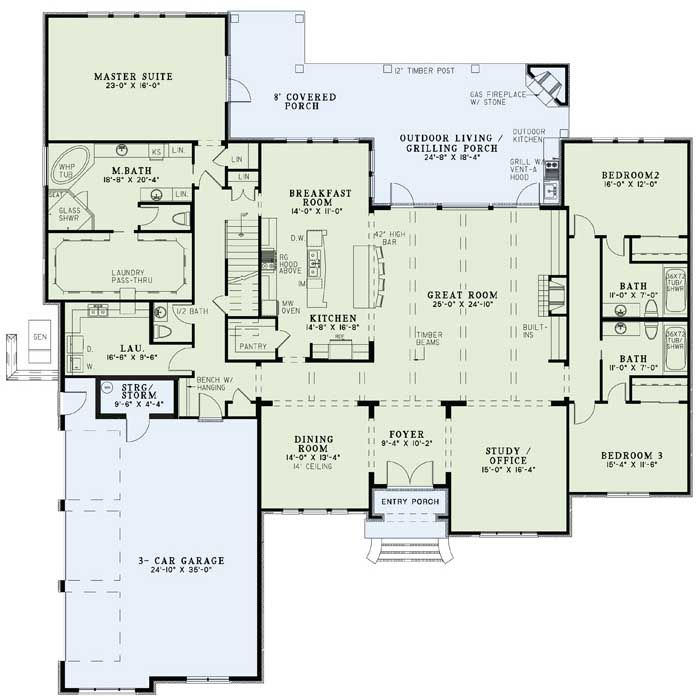 beautiful one story with bonus space almost perfect - Single Story House Plans