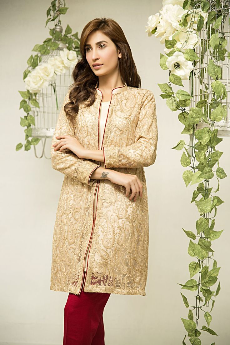 Pakistani Designer Dresses - Lowest Prices - Zainab Hasan Goldenage short gown dress with silk slip and raw silk trousers £80 - Latest Pakistani Fashion
