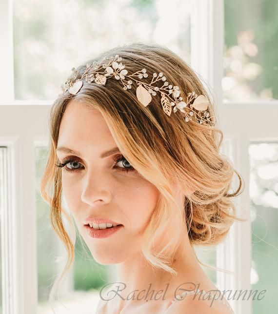 Beautiful Gold Hair Vine Pearls and Crystals