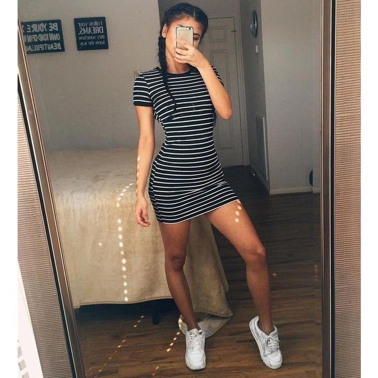 Round Neck Striped Short-sleeved Dress