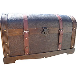 @Overstock - Inspired by an heirloom hope chest, this Victorian, wood, storage trunk is hand-crafted to reproduce such romantic details as the embossed panels, ornate lock, and leather luggage straps. An antique-finish hardwood frame completes the picture.http://www.overstock.com/Home-Garden/Phat-Tommy-Victorian-Decorative-Wooden-Storage-Trunk/3693400/product.html?CID=214117 $104.99