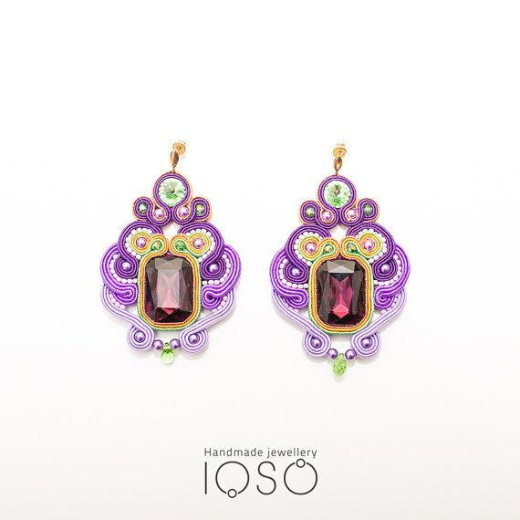 S46/15 Soutache earrings with big crystal eye by IOSO on Etsy