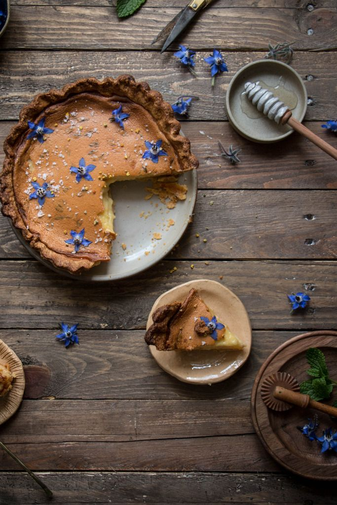 salty honey pie made with borage honey and a mint studded crust, I also added edible borage flowers in and on top of the pie. adapted from four and twenty blackbirds