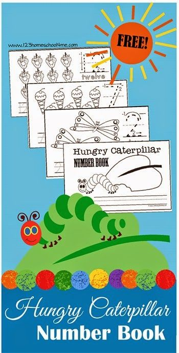 FREE Hungry Caterpillar Number Book - Practice Counting and writing numbers with this super cute, free printable for Toddler, Preschool, and Kindergarten age kids! LOVE THIS! (kids activities, eric carle day, homeschool, preschoolers, prek)