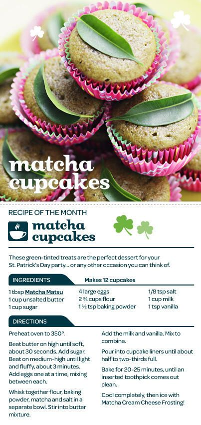 Infuse your St. Patrick's Day celebration with a little tea, with these Matcha Green Tea Cupcakes! (DAVIDs TEA)