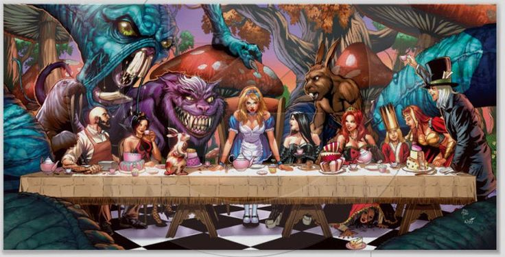 13x23 PRINT Alice In Wonderland LAST SUPPER POSTER Print ...