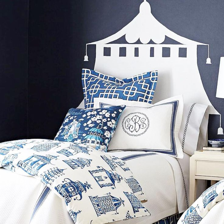 "I'm tempted to DIY a ""headboard"" like this one featured with this amazing bedding in @horchow  #inspiration #diy #headboard #painting #chinoiserie #blueandwhite #pagodas #monogram #printmixing #patternplay"