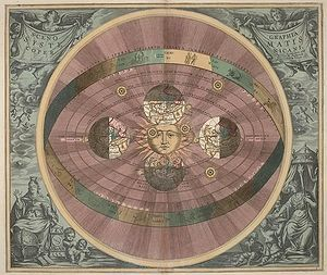 Heliocentrism, or heliocentricism by Nicolaus Copernicus is the astronomical model in which the Earth and planets revolve around a relatively stationary Sun at the center of the Solar System.