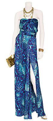 1st Dibs   SALVATORE FERRAGAMO Animal Print Silk Gown as seen on Jen Lopez