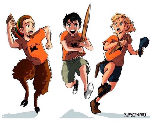 Original trio: Percy Jackson, Annabeth Chase, and Grover Underwood. This looks pretty accurate>>>>> <33