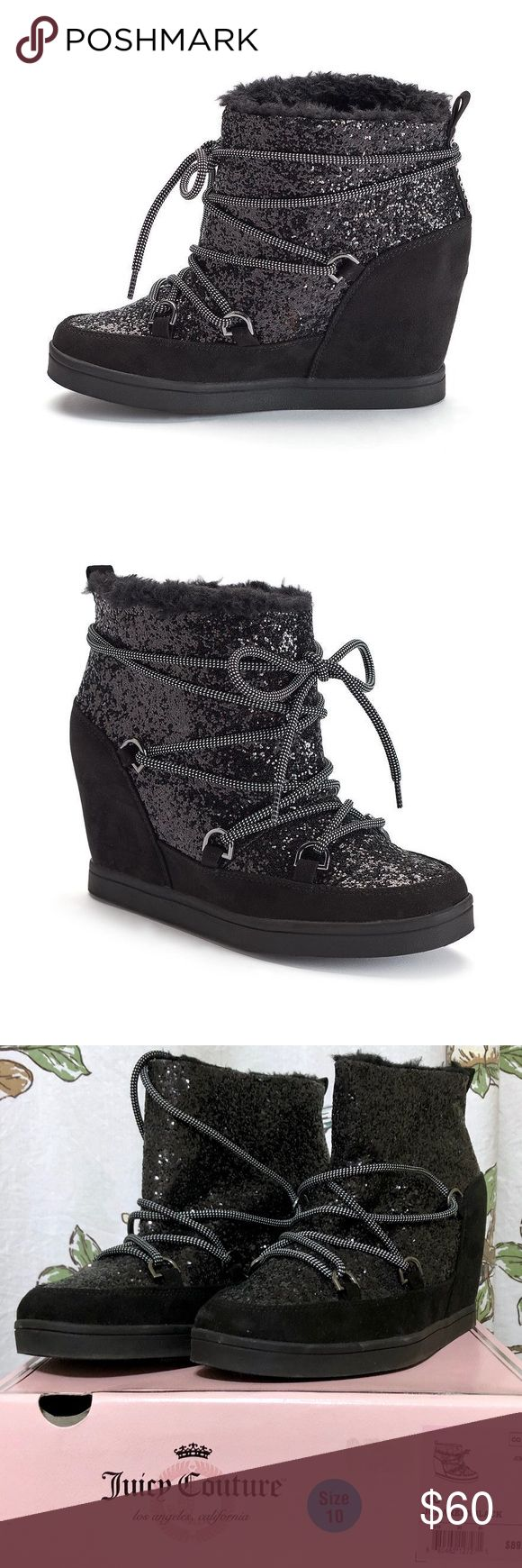 Juicy Couture Ankle Boot | Lace-up Wedge | Size 10 Brand new with box, never worn.   These women's Juicy Couture ankle boots feature a hidden wedge heel.  SHOE FEATURES Glitter detail Hidden wedge  SHOE CONSTRUCTION Microsuede upper Fabric, faux-fur lining TPR outsole  SHOE DETAILS Round toe Lace-up closure Padded footbed 4-in. heel Juicy Couture Shoes Ankle Boots & Booties #wedgesshoes