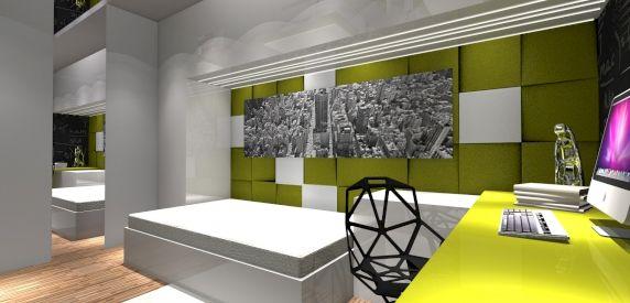 Wizualizacja. Penele Cube. Mieszkanie prywatne. Projekt ANCu Design Damian Anc