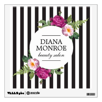 Personalized Floral Wreath Striped Wall Decal | Zazzle.com