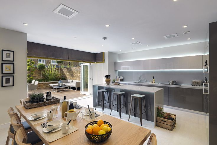 Minimalist Modern Kitchen Connects to Large Terrace
