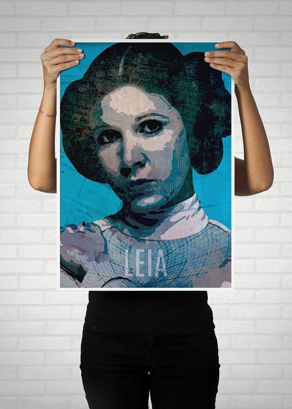 Princesa Leia, star wars,lamina ilustrada, arte digital, regalo guerra de las galaxias, ilustración