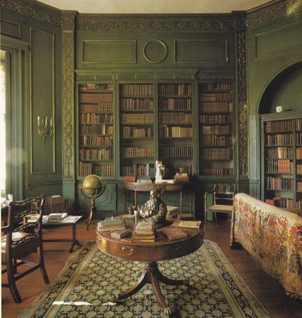 Library round table, green painted crown moulding