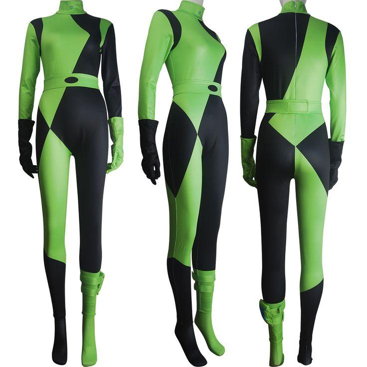 Women Kim Possible Shego costume jumpsuit super villain halloween costume zentai bodysuit xmas valentine's day gift