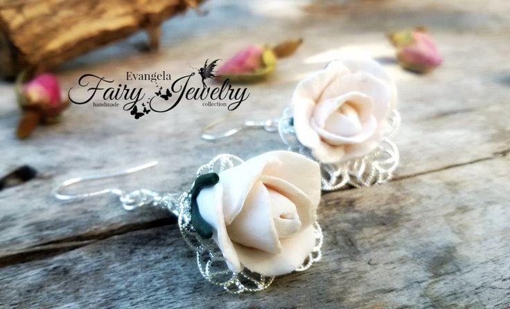 Orecchini rose bianche fimo filigrana pendenti argento 925 , by Evangela Fairy Jewelry, 11,00 € su misshobby.com