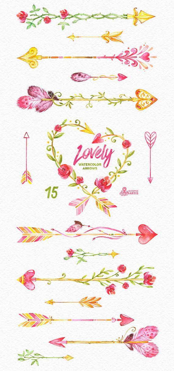 This set of 15 high quality hand painted watercolor clipart (arrows, wreath). Perfect graphic for wedding invitations, greeting cards, quotes and