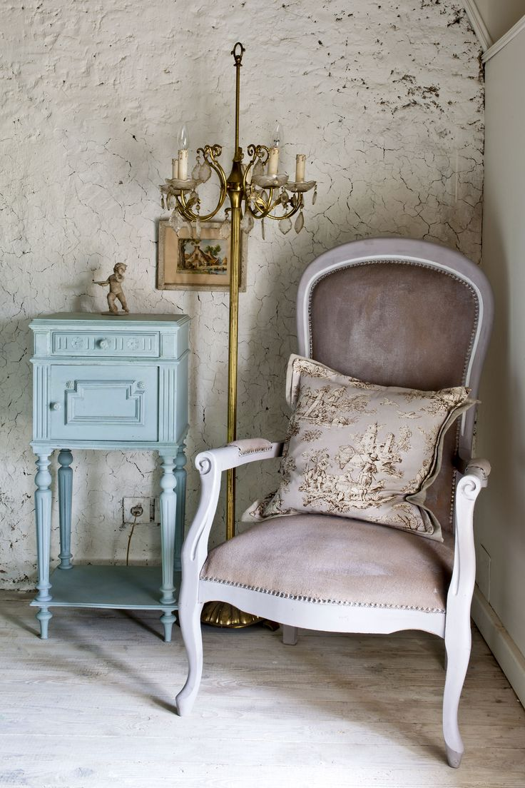 From Colour Recipes for Painted Furniture and More by Annie Sloan showing a velvet style upholstered chair painted with a very watery coat of Paloma Chalk Paint over dark mustard coloured fabric. No wax or finish needed.