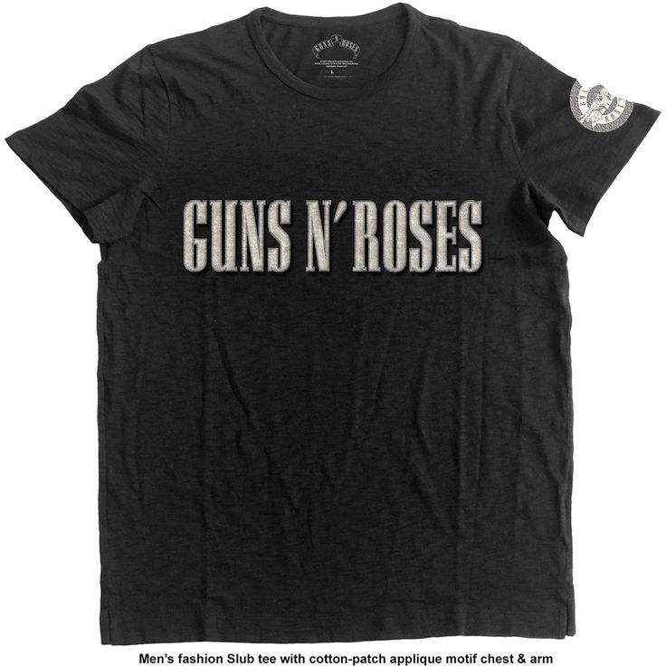 Guns N' Roses Men's Fashion Tee: Logo & Bullet Circle with Applique Motifs Wholesale Ref:GNRAPSLUB01MB