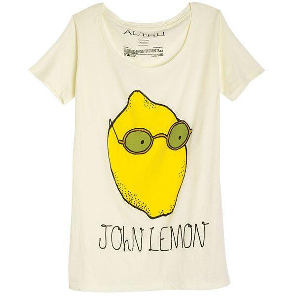 John Lemon Tee ($3.99) ❤ liked on Polyvore featuring tops, t-shirts, shirts, tees, graphic tees, shirts & tops, lemon shirt, graphic tops e lemon t shirts