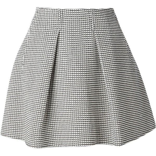 KENZO flared skirt ($230) ❤ liked on Polyvore featuring skirts, bottoms, gonne, saias, black and white a line skirt, knee length a line skirt, circle skirt, pleated skirt and pleated skater skirt