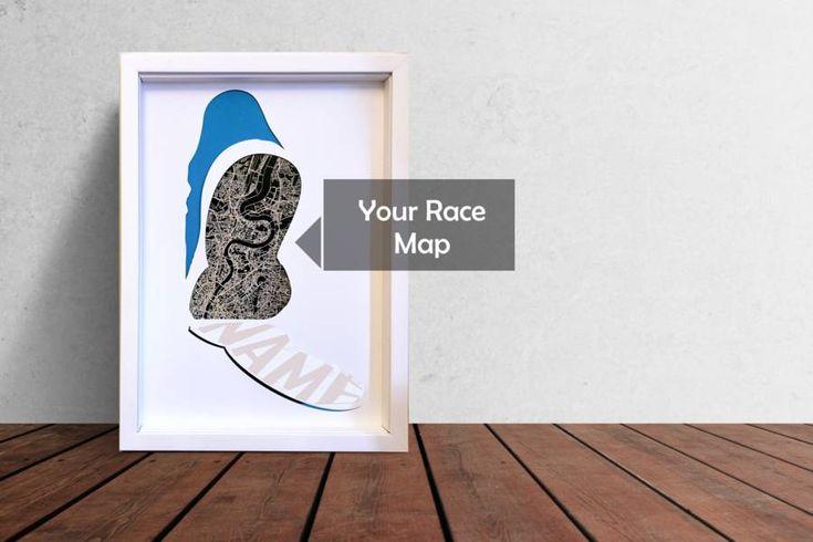 Personalised Any Marathon Engraved Map Framed