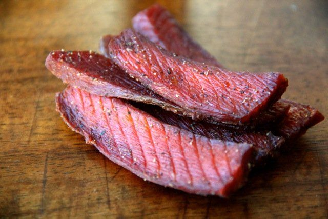 Salmon Jerky. Too salty with full strength soy sauce. Dilute with water: 3/4 soy and 1/4 water. Triple recipe is 1 cup + 2 tbsp soy sauce and 1/3 cup plus 1 tbsp water.