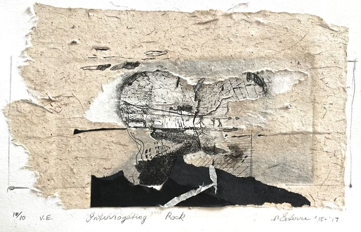 Elaine d'Esterre - Interrogating Rock, 10/10, v.e., 2015-17, intaglio and handmade paper, 16x32 cm. Art blog at https://elainedesterreart.com/ and https://www.facebook.cpm/elainedesterreart/ and https://instagram.com/desterreart/