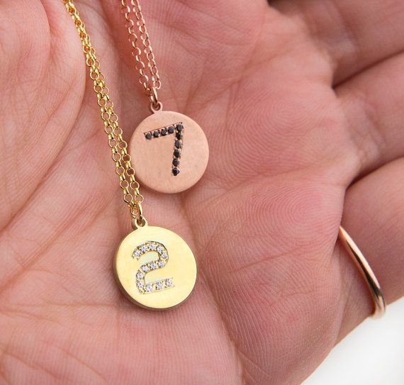 Lucky number necklace Favorite number disc by elegantjewelbox, $29.00